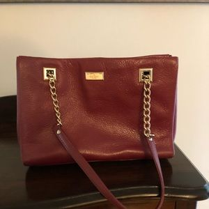 Kate Spade deep red leather tote